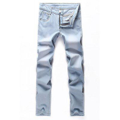 Straight Legs Zip Fly Denim Pants For Men