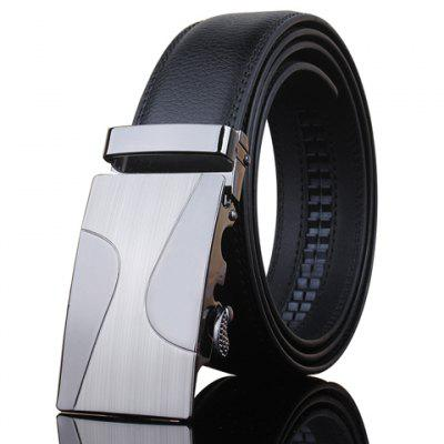 Stylish Automatic Metal Buckle Black Wide Belt For Men