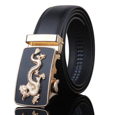 Stylish Golden Dragon Shape Embellished Automatic Buckle Black Wide Belt For Men