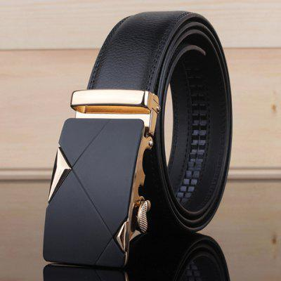 Stylish Two Triangles Shape Embellished Metal Buckle Wide Belt For Men