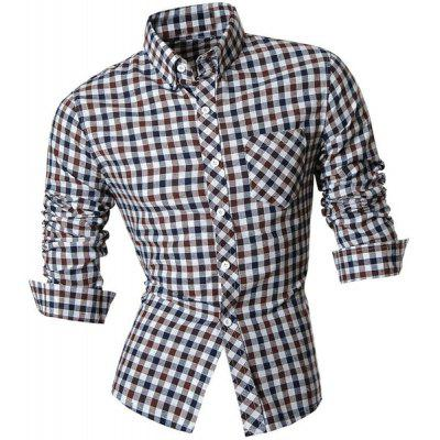 Slimming Shirt Collar One Pocket Plaid Print Long Sleeves Button-Down Shirt For Men