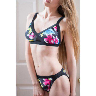 Sexy Push Up Flower Print Bikini Set For Women