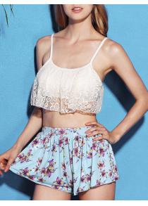 Chic Lace Spliced Bikini and Flower Shape Boxers Three-Piece Swimwear For Women