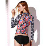 Élégant Collier Stand-Up long Plaid manches Argyle Rash Guard pour les femmes - MULTICOLORE