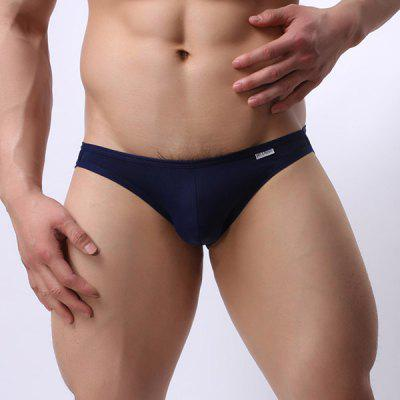 Hollow Out Solid Color Elastic Waist U Convex Pouch Design Thongs For Men