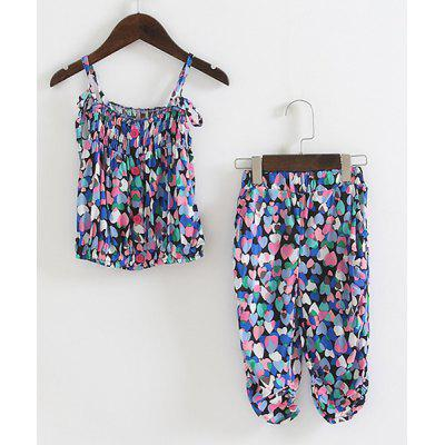 Twinset Sweet Colorful Coeur Imprimer Cami Top + Crop Pants fille