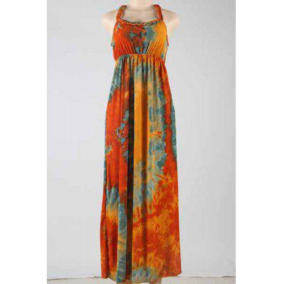 Stylish Scoop Neck Sleeveless Tie Dyed Maxi Dress For Women