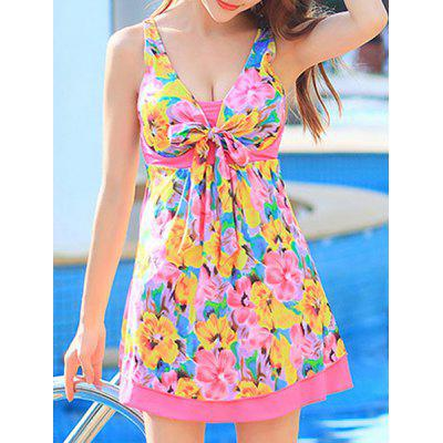 Floral Printed High Waist One-Piece Cute Bathing Suit