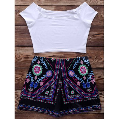 Short Sleeve Crop Top + Ethnic Print Short Suit