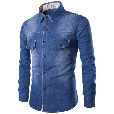 Turn-Down Collar Pockets Design Bleach Wash Long Sleeve Denim Shirt For Men