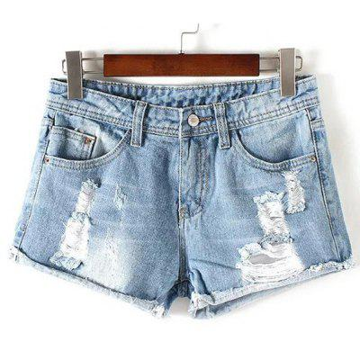 Stylish Destroy Wash Frayed Low Waist Denim Jeans Shorts For Women