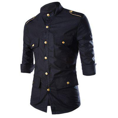Stand Collar Epaulet Design Three-Quarter Sleeve Men's Black Shirt