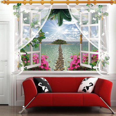 Fashion 3D Window Sea Island Landscape Pattern Wall Sticker For Livingroom Bedroom Decoration