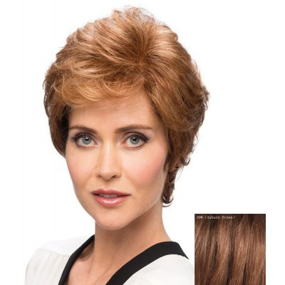 Buy AUBURN BROWN #30 Bouffant Curly Side Bang Capless Elegant Short Human Hair Wig for $49.14 in GearBest store