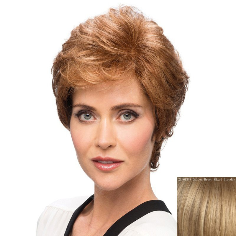 Bouffant Curly Side Bang Capless Elegant Short Human Hair Wig