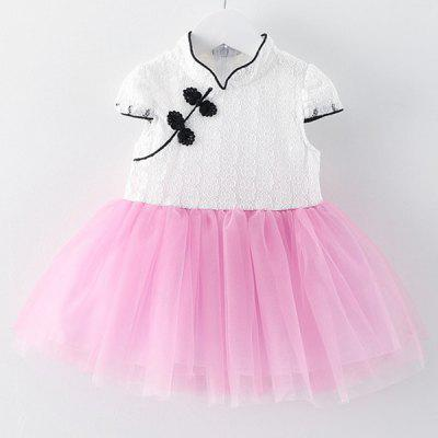 Sweet Mandarin Collar Short Sleeve Spliced Girl's Dress