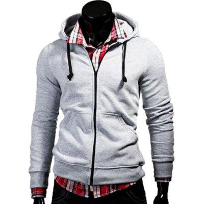 Color Block Zipper Fly Front Pocket Hooded Long Sleeves Hoodie For Men