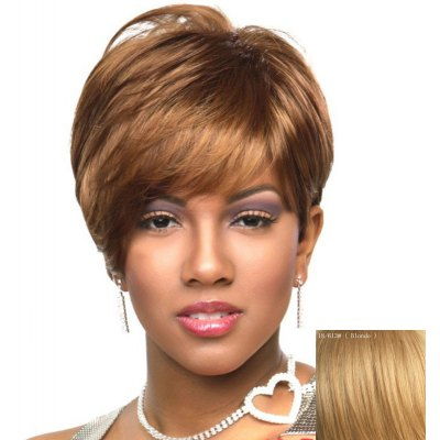 Spiffy Short Layered Capless Fluffy Natural Straight Side Bang Human Hair Wig For Women
