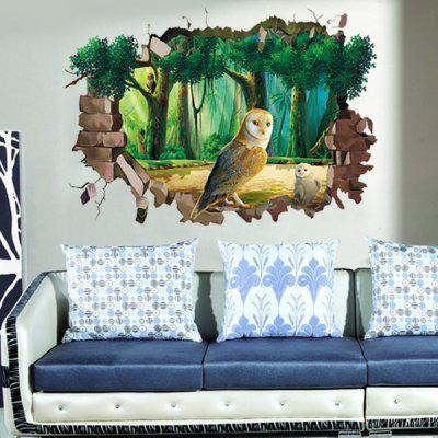Buy Stylish 3D Night Owl Forest Pattern Wall Sticker For Livingroom Bedroom Decoration COLORMIX for $4.99 in GearBest store