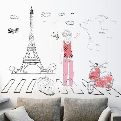 Buy COLORMIX Fashion Traveler Pattern Wall Sticker For Livingroom Bedroom Decoration for $4.50 in GearBest store