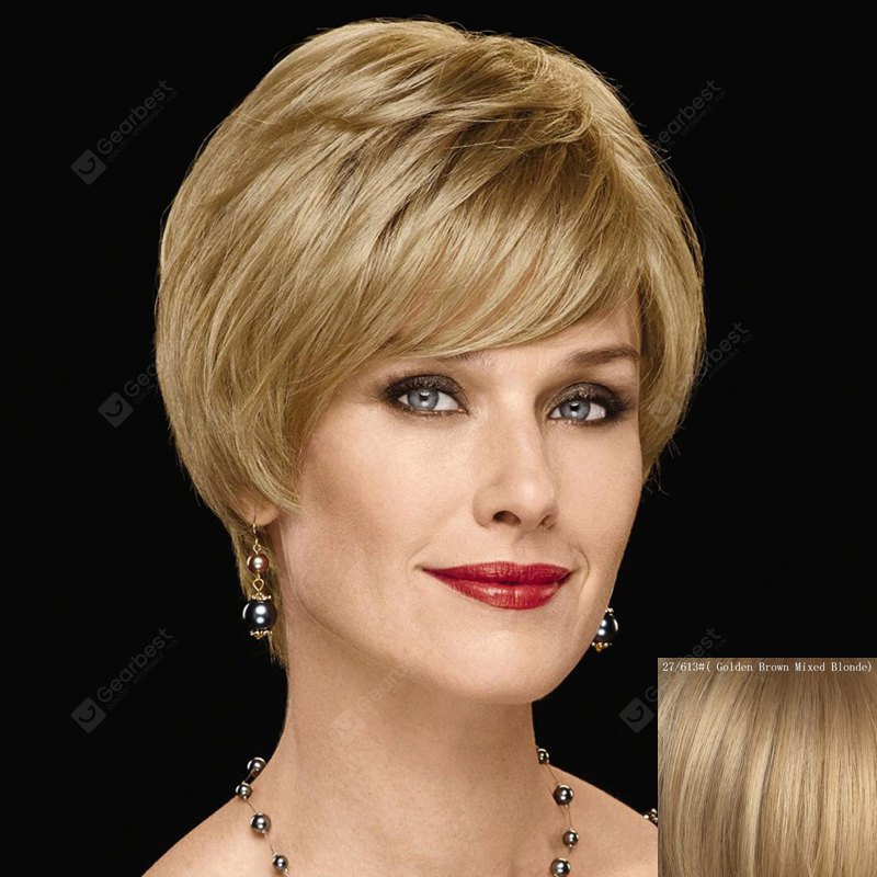 Graceful Inclined Bang Capless Fashion Short Straight Human Hair Wig For Women