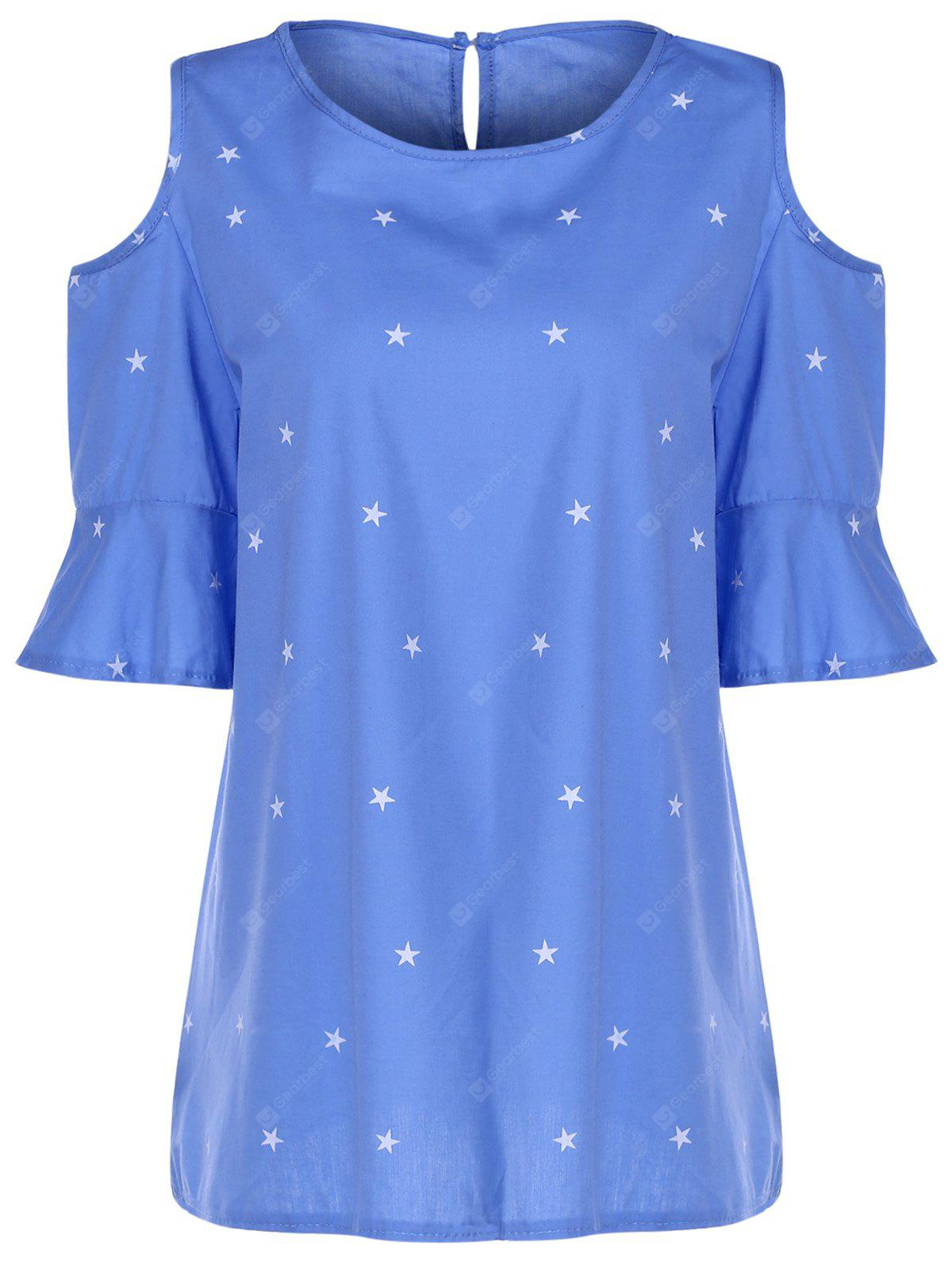 Sweet Round Collar Short Sleeve Star Print Cold Shoulder Plus Size T-Shirt For Women