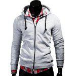 Color Block Zipper Fly Front Pocket Hooded Long Sleeves Hoodie For Men - LIGHT GRAY