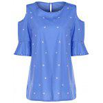Sweet Round Collar Short Sleeve Star Print Cold Shoulder Plus Size T-Shirt For Women - ICE BLUE