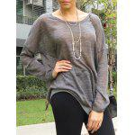 best Women's Stylish Scoop Neck Asymmetrical Long Sleeve Sweater