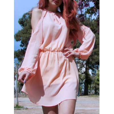 Cold Shoulder Hollow Out Long Sleeve Club Dress