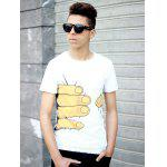 Hot Sale Personality 3D Big Hand Print Slimming Round Neck Short Sleeves Men's White T-Shirt - WHITE