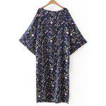 cheap Retro Bat Sleeve Drawstring Floral Print Women's Dress