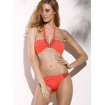 Modische Halter Push-Up-wulstige Backless Frauen-Bikini-Satz - ORANGEROT
