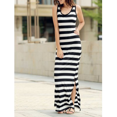 Sexy Scoop Collar Sleeveless Striped Women's Sundress