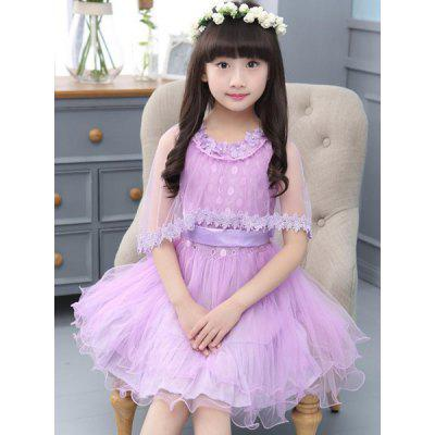 Stylish Round Neck Flower Spliced Pure Color Girl's Dress