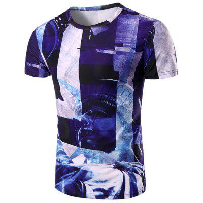 Buy Round Neck Statue 3D Print Pattern Short Sleeve T-Shirt For Men, COLORMIX, L, Apparel, Men's Clothing, Men's T-shirts, Men's Short Sleeve Tees for $13.49 in GearBest store