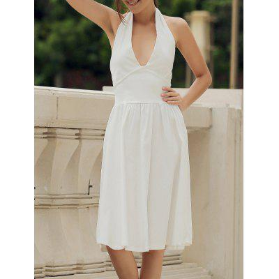 Vintage Halter Solid Color Backless Flare Dress For Women