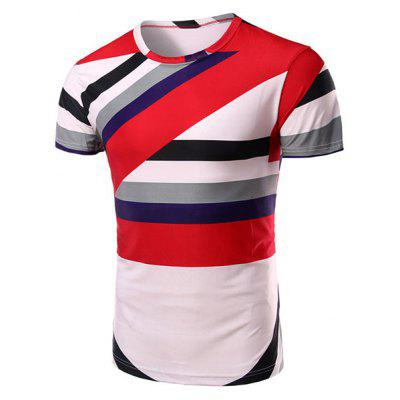 Buy COLORMIX Vogue Round Neck Color Block Stripes Short Sleeve T-Shirt For Men for $11.37 in GearBest store
