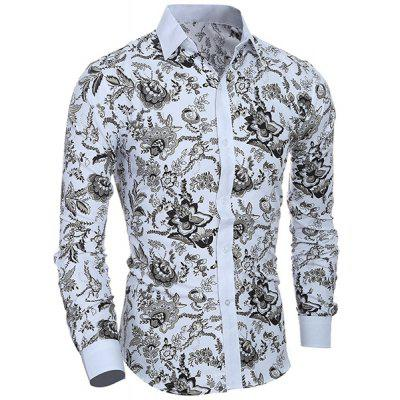 Turn Down Collar Plant Printing Shirt For Men
