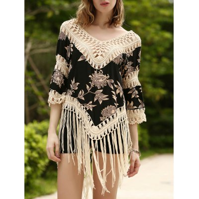 Long Fringe Printed Beach Tunic Cover Up