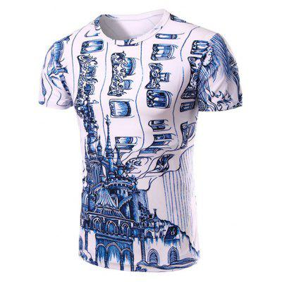 Casual Round Neck 3D Abstrat Print Short Sleeve T-Shirt For Men