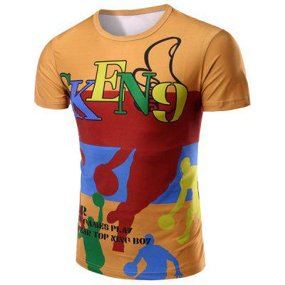 Round Neck Letter and Cartoon 3D Print Pattern Short Sleeve T-Shirt For Men