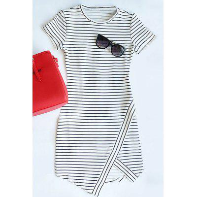 Asymmetrical Striped T-Shirt Short Bodycon Dress
