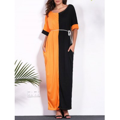 Buy BLACK AND ORANGE Contrast Insert Maxi T-shirt Dress with Pockets for $17.36 in GearBest store