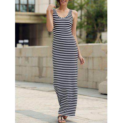 Maxi Stripe Backless Jersey vestido de fiesta