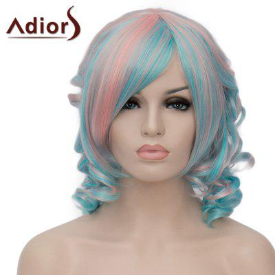 Stunning Pink Mixed Green Synthetic Fluffy Short Curly Side Bang Adiors Wig For Women