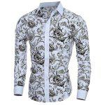 Turn Down Collar Plant Printing Shirt For Men - COLORMIX