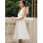 Vintage Halter Solid Color Backless Flare Dress For Women deal