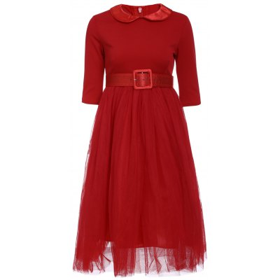Peter Pan Collar Long Sleeve A-Line Midi Dress