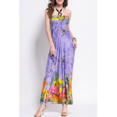 Chic Sleeveless Floral Print Slimming Women's Halter Dress
